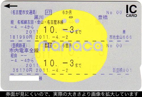 名古屋市営地下鉄定期券